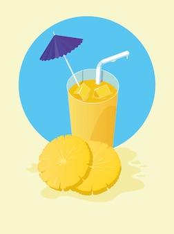 Suco de abacaxi com guarda-chuva e palha