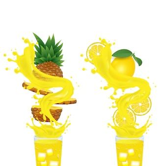 Suco de abacaxi e suco de limão