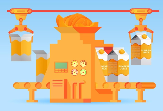 Suco de abóbora transportadora de embalagem de fábrica de uma caixa. água com gás doce. conceito de máquina de fábrica de alimentos automatizada industrial de design.