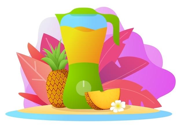 Suco de batido de abacaxi no liquidificador. bebida de fruta tropical. utensílios de cozinha.