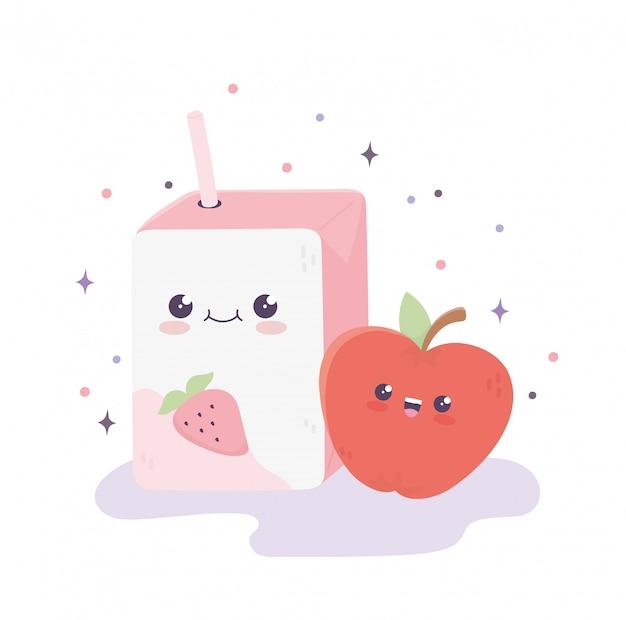 Suco de caixa kawaii com desenhos animados de palha e maçã