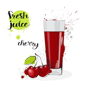 Suco de cereja fresco mão desenhada aquarela frutas e vidro sobre fundo branco