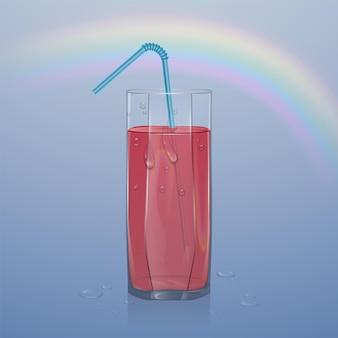 Suco de frutas naturais, anúncios frutas refrescantes com suco. copo de suco de morango.