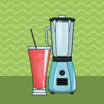 Suco de frutas refrescante e liquidificador
