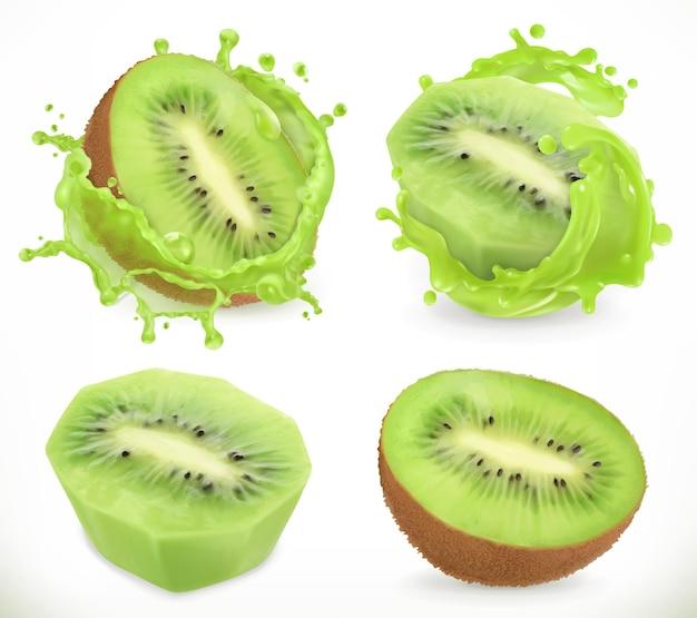 Suco de kiwi. frutas frescas e splash, ícone realista