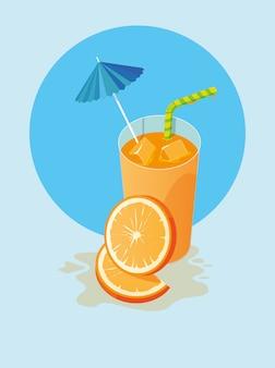 Suco de laranja com guarda-chuva e palha