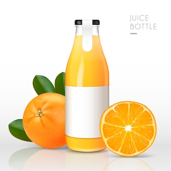 Suco de laranja contido em garrafa de vidro
