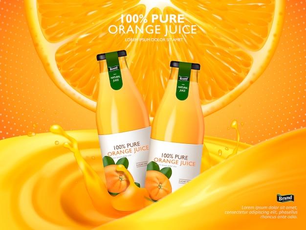 Suco de laranja contido em garrafas de vidro