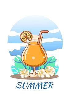Suco de laranja doce com gelo na ilustração dos desenhos animados de verão