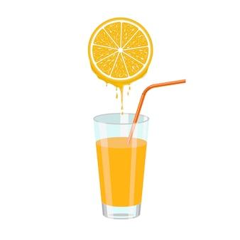 Suco de laranja e fatia de laranja