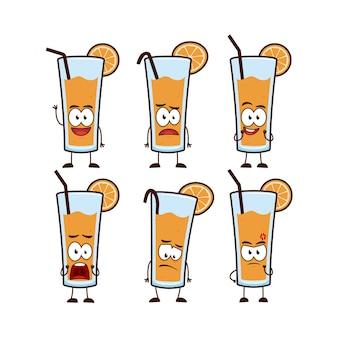 Suco de laranja em copo com canudo e mascote de desenho de personagem de frutas de laranja definir pose de expressão em estilo engraçado fofo