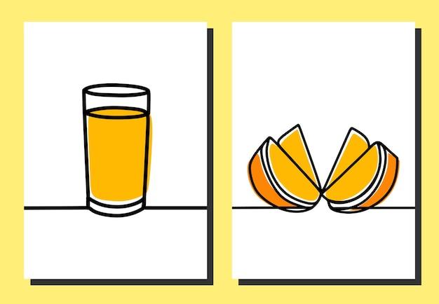 Suco de laranja em copo contínuo uma linha