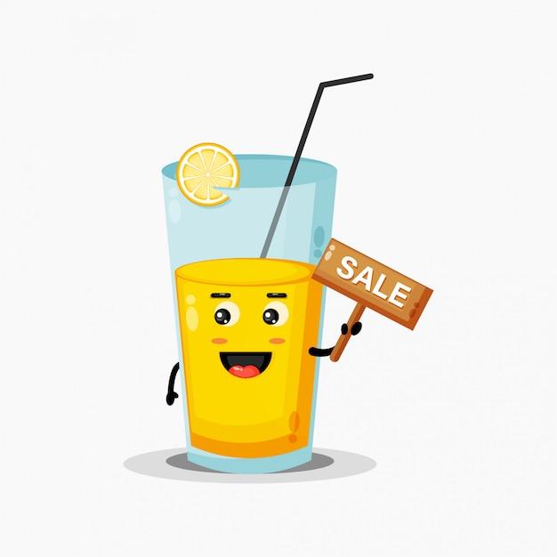 Suco de laranja fofo com o sinal de vendas