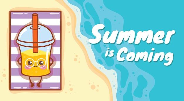 Suco de laranja fofo relaxando na praia com um banner de saudação de verão