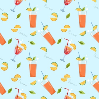 Suco de laranja no vidro no azul padrão sem emenda. horários de verão.