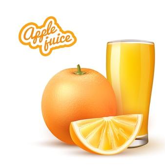 Suco de laranja realista vidro fatia de fruta laranja 3d bebida cítrica tropical
