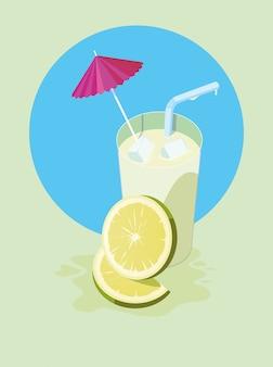 Suco de limão com guarda-chuva e palha
