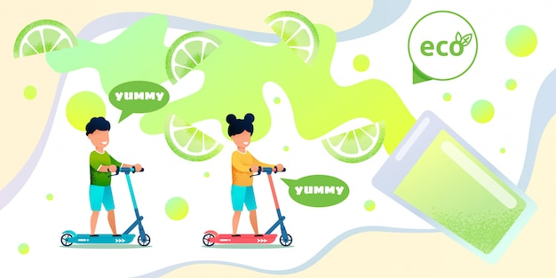 Suco de limão orgânico para crianças bandeira plana