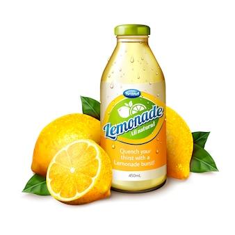 Suco de limonada isolado em frasco de vidro com frutas frescas na ilustração