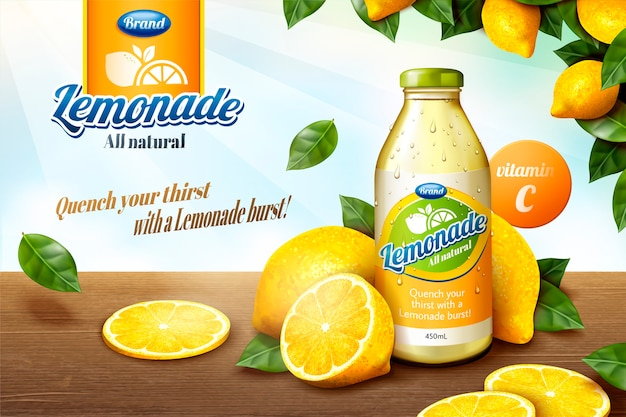 Suco de limonada natural com frutas fatiadas na mesa de madeira em ilustração, moldura de pomar