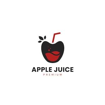 Suco de maçã com logotipo de canudo e modelo de texto sob ele