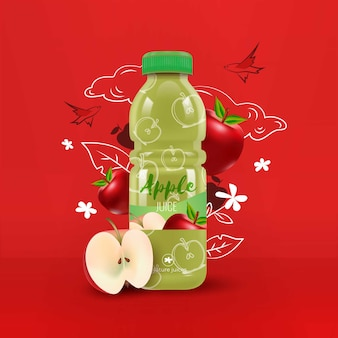 Suco de maçã em um anúncio de garrafa de plástico