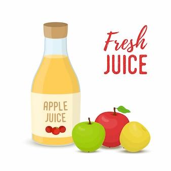 Suco de maçã - garrafa de vidro com frutas inteiras.