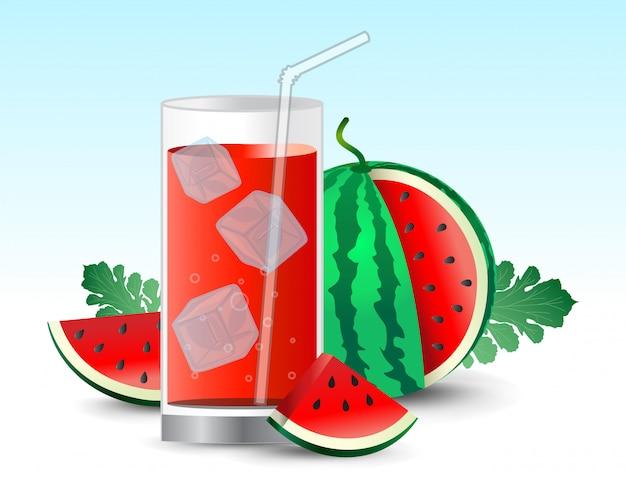 Suco de melancia em copo realista