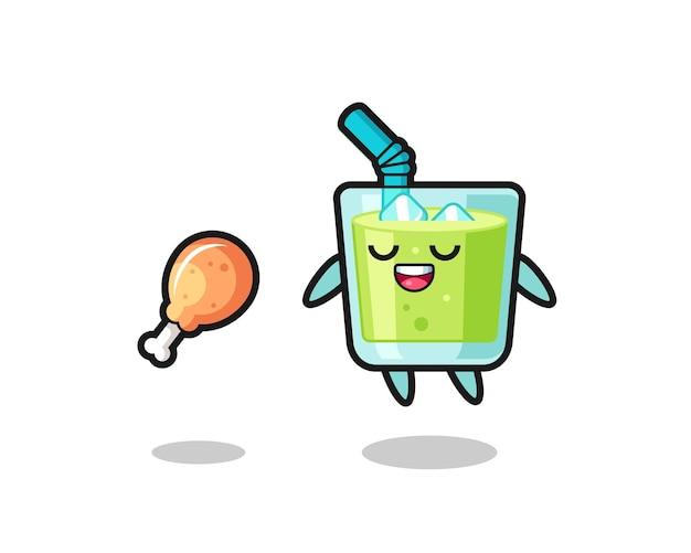 Suco de melão fofo flutuando e tentado por causa de frango frito, design de estilo fofo para camiseta, adesivo, elemento de logotipo