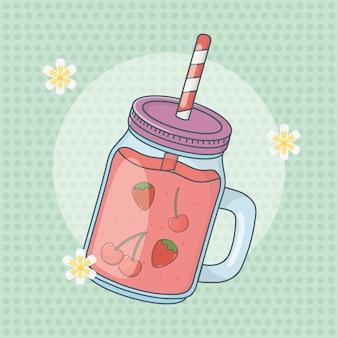 Suco de morango frutas em panela com palha