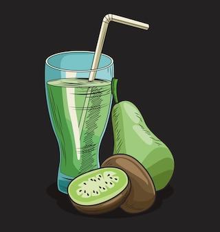 Suco de pêra e frutas frescas de kiwi