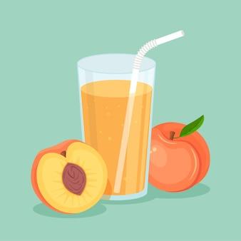 Suco de pêssego natural em um copo. suco de fruta fresco espremido com uma fatia cortada e canudo. alimentos orgânicos saudáveis em estilo apartamento moderno isolado.