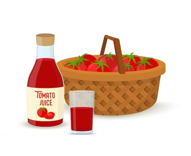 Suco de tomate vector - copo, garrafa, cesta de vime com tomates