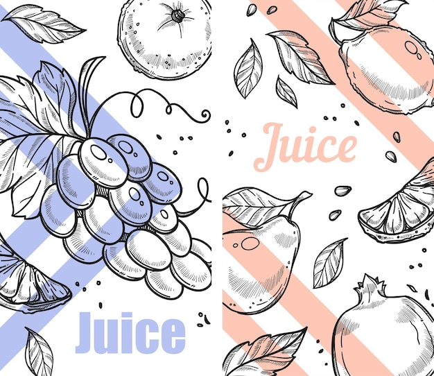 Suco de uva, pêra ou maçã e laranja cítrica