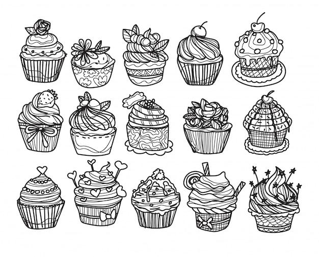 Suco e café de padaria definir desenho e desenho à mão
