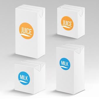 Suco e pacote de leite