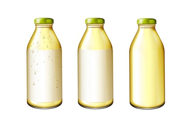 Suco em garrafas de vidro com rótulo em branco na ilustração