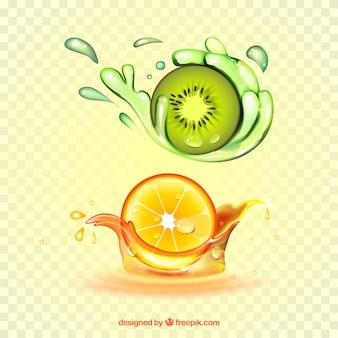 Suco espirra coleção com frutas realistas