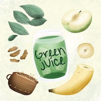 Suco verde - mão desenhada