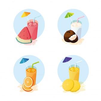 Sucos com conjunto de ícones de frutas