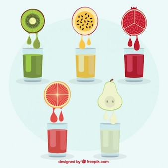 Sucos de frutas coloridas
