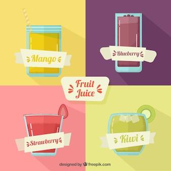 Sucos de frutas com fitas em design plano