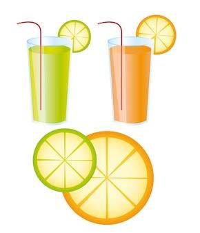 Sucos de laranja e limão sobre o vetor de fundo branco