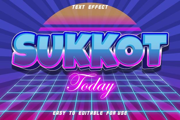 Sucot hoje efeito de texto editável em relevo estilo retro