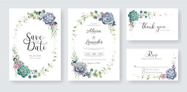 Suculenta e ramos cartão de convite de casamento