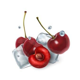 Suculentas bagas de cereja com cubos de gelo e gotas de água