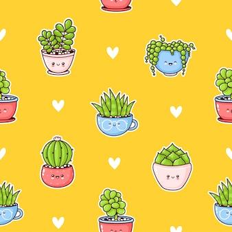 Suculentas engraçadas felizes fofos plantas padrão sem emenda. desenho animado kawaii personagem ilustração design. suculentas, cactos, corações conceito sem costura padrão