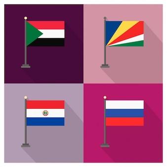Sudão seychelles paraguai e rússia bandeiras