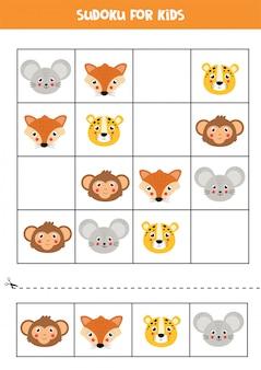 Sudoku com rostos de animais fofos e felizes.