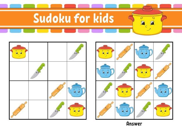 Sudoku com tema de louças para crianças